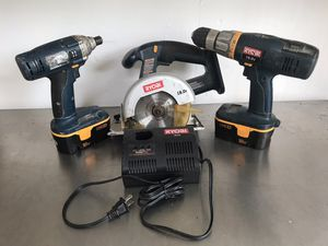 RYOBI 18-Volt ONE Nicad Cordless 3-Tool Combo Kit with 2 Batteries and Charger for Sale in San Diego, CA