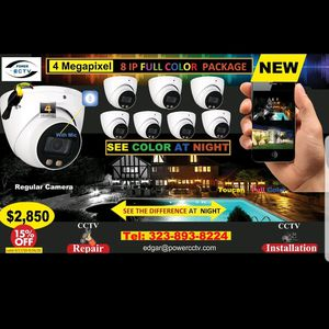 8IP Security Cameras package Full color at Night for Sale in Los Angeles, CA