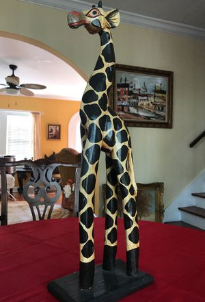 Giraffe collectible carved wood 24 inch tall statue for Sale in West Palm Beach, FL