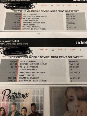 Jonas Brothers Tickets: Orlando for Sale in Tarpon Springs, FL