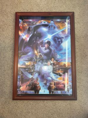 30th ANNIVERSARY Star Wars Poster with glass frame and hooks for Sale in Keller, TX