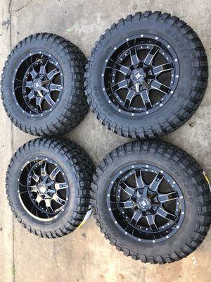 "Brand new 20"" black rims and New tires 20 Wheels 20s Rines negros y Llantas ## Fuel Fuels Motometal Moto Metal Metals XD X D rockstars American force for Sale in Dallas, TX"