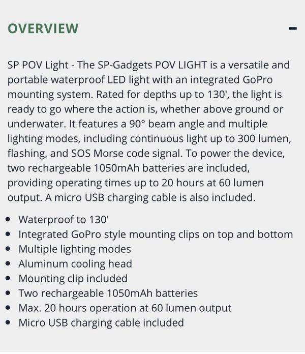 GoPro camera/light mount