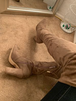 Thigh high taupe boots for Sale in Laveen Village, AZ