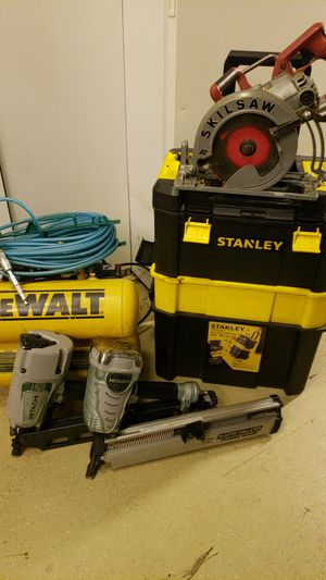 Nail guns, circular saw, compressor, air line, loaded tool box for Sale in San Jose, CA
