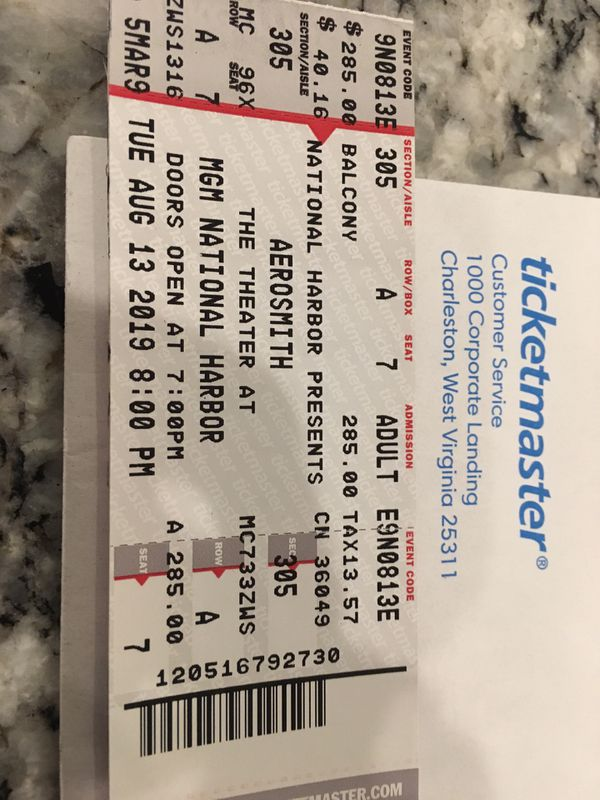2 tickets to Aerosmith on August 13th at MGM