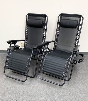 New $70 (set of 2) Tan or Black Adjustable Zero Gravity Lounge Chair Patio Pool w/ Cup Holder for Sale in South El Monte, CA