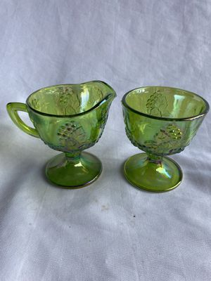 Rare green vintage carnival glass cream and sugar for Sale in Lynnwood, WA