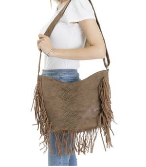 Chevron Studded Brown Fringe Messenger Bag for Sale in Clay Township, MI