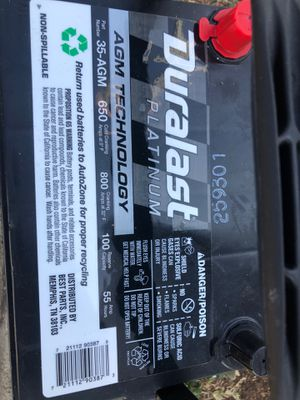 Platinum Duralast size 35AMG car battery for Sale in Hawthorne, CA