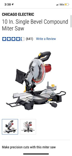 CHICAGO ELECTRIC 10 In. Single Bevel Compound Miter Saw for Sale in Bakersfield, CA