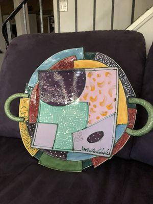 """Ceramic bowl one of a kind w wire to hang or display on table 18X18"""" for Sale in Palatine, IL"""