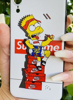 Brand new cool iphone XR case cover silicone rubber Bart Simpson Takis Supreme Girls guys womens mens hypebeast hype fundas for Sale in San Bernardino,  CA