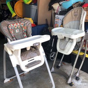 two folding gently used high chairs for Sale in Wakefield, MA