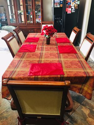 💎-BEAUTIFUL- DINING TABLE-w- SIX CHAIRS- SOLID WOOD- CHERRY COLOR-w-GLASS ON TOP-EXCELLENT FOR ALL FAMILY ‼️ for Sale in Phoenix, AZ