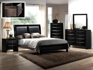 BRAND QUEEN SIZE BEDROOM SET INCLUDES BED FRAME DRESSER MIRROR AND NIGHTSTAND ADD MATTRESS ALL NEW FURNITURE BY USA MEXICO FURNITURE for Sale in Upland, CA