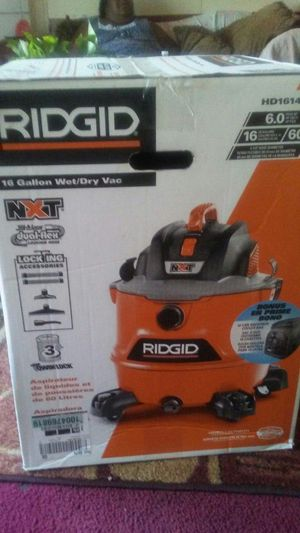 RIDGID 16 Gal. 6.0-Peak HP NXT Wet/Dry Shop Vacuum with Fine Dust Filter, Hose, Accessories and Backpack Cooler for Sale in Del Valle, TX