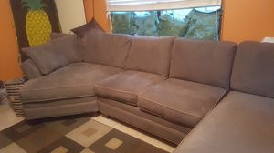 SUEDE SECTIONAL COUCH WITH FREE 9X6 RUG AND 8 PILLOWS for Sale in Plant City, FL
