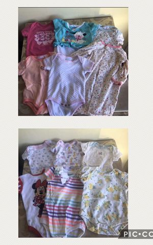 Baby onesies set of 11 plus 1 nightgown for 0-3months for Sale in San Jose, CA
