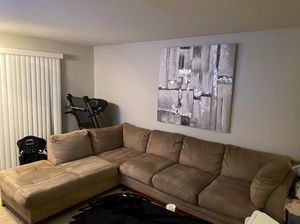 Taupe suede sectional couch MUST GO SOON! for Sale in Naperville, IL