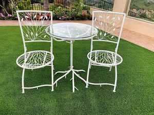 3-Piece Patio Bistro Set White Home Outdoor Furniture Decor for Sale in Los Angeles, CA