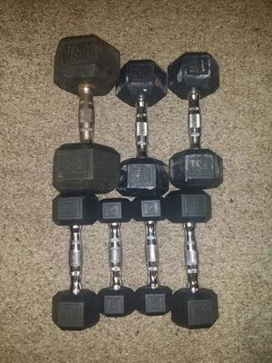 Chrome dumbbells with rubber. pair of 5s, 10s, 15s and one 30lb for Sale in Deerfield Beach, FL