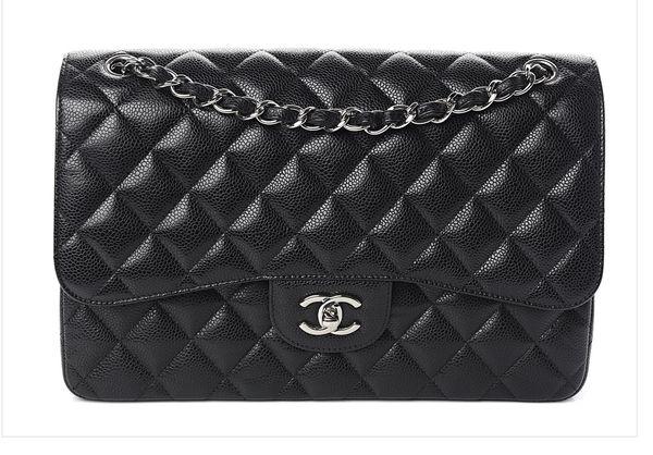Authentic Chanel Jumbo Caviar Classic Handbag with Silver chain
