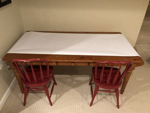 Pottery Barn Craft Table with 2 Farmhouse chairs for Sale in Westlake, MD