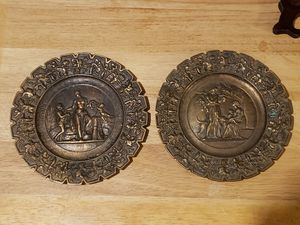 """2 vintage bronze decorative plates (8"""" diameter) SEE ALL PICTURES for Sale in Columbus, OH"""