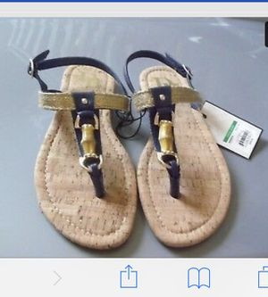 Dana Buchman~Navy & Gold Solid Brown Bamboo Fashion Sandal~NWT $28~~Small (5-6) for Sale in Pueblo, CO