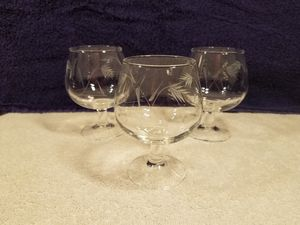 3x Princess house - etched crystal - Liquer, brandy, cognac, scotch- collectable vintage glass for Sale in Las Vegas, NV