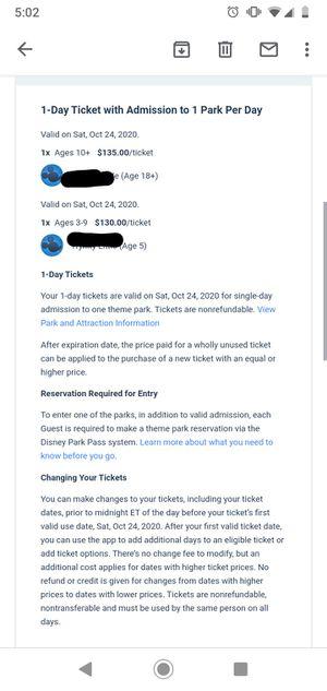 Disney theme park tickets for Sale in Lake Buena Vista, FL