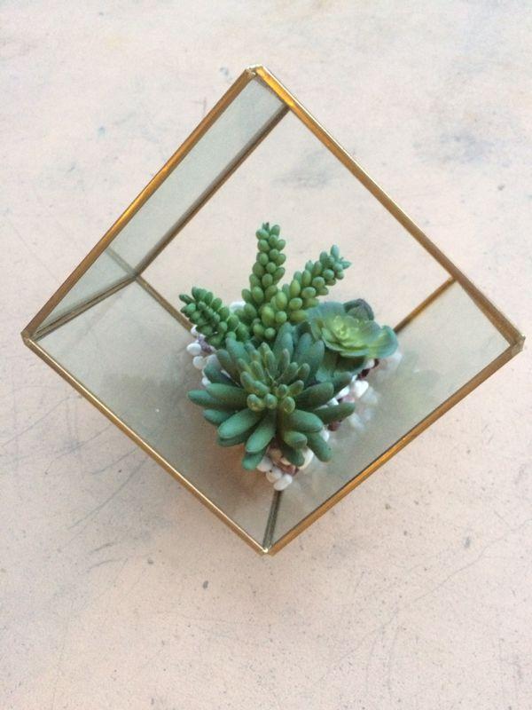 Glass terrarium planter - artificial succulent