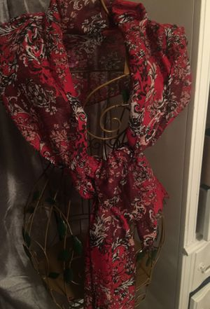 New with tags designer scarf shawl red black & white for Sale in Northfield, OH