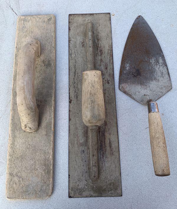 Wood hand trowel 16 in - Hand steel trowel 16 in - Masonry trowel 9 in