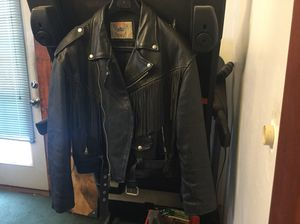 Vanguard thick leather biker jacket,with fringe size 46. for Sale in Cuyahoga Falls, OH