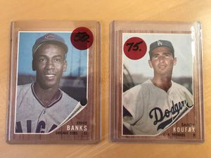 1962 * SANDY KOUFAX & ERNIE BANKS BASEBALL CARDS * REAL BEAUTIES! * for Sale in Lafayette, CA