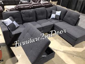 New Charcoal Fabric 3pc Sofa Sectional Couch & Ottoman for Sale in Orange, CA