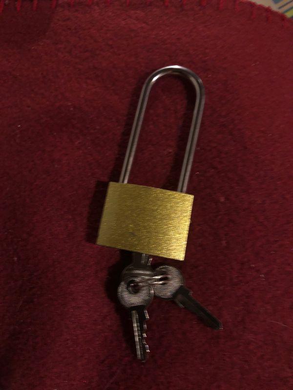 """3.5"""" Gold Brass Padlock with 3 Keys: Shed, Side Door, Safes, Camper, RV, Children"""