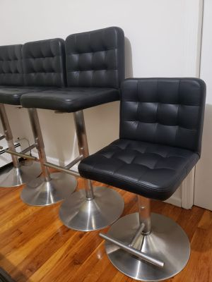 Black leather stools for Sale in Chapel Hill, NC