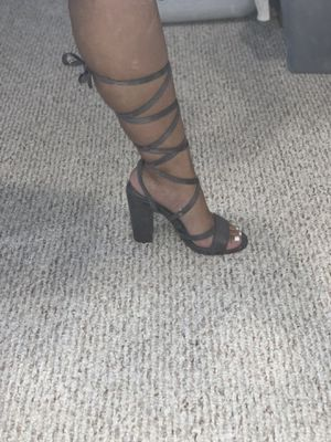 Gray tie-up heels for Sale in Lowell, MA