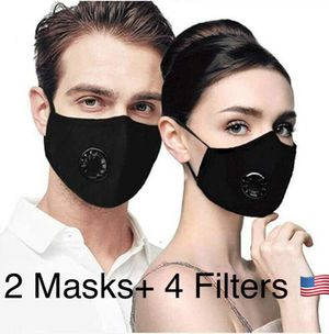 2 Pack PM2.5 Masks, Reusable Breathing Valve Respirator Face Masks, with 4 Pcs 5 Layers PM2.5 Activated Carbon Filter for better Protection for Sale in Cedar Hill, TX