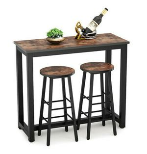 Modern, Distressed 3-Piece Pub/Bar Table Set w/ 2 Stools for Living Room for Sale in Hidden Hills, CA
