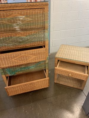 BAMBOO DRESSER CHESTS with glass tops- antique furniture for Sale in Manassas, VA