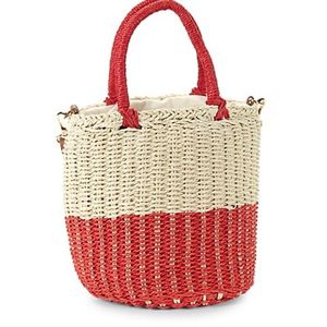 String Straw Colorblock Bucket Bag Red for Sale in College Park, GA