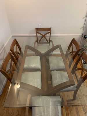 Honey Oak and Glass Dining Table for Sale in Marina del Rey, CA