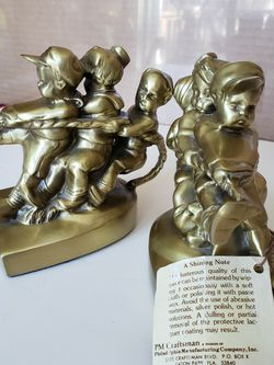 PM Craftsman Vintage Solid Brass Heavy Tug of War Bookends USA for Sale in Alexandria,  VA