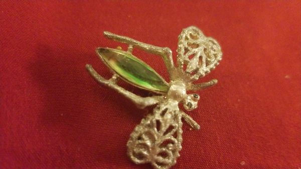 3 Vintage Broach Pins with gems all insects