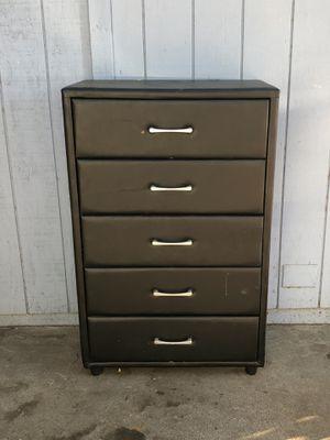 Black Imitation Leather 5-Drawer Upright Bedroom Dresser for Sale in Fresno, CA