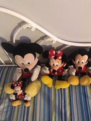 2 micky mouse plushies, one Minnie Mouse, and one small Minnie Mouse. for Sale in Azusa, CA
